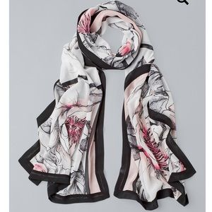 White House Black Market Floral Oblong Scarf NWT